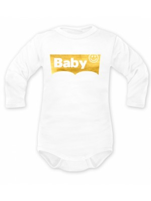 Body dlhý rukáv Baby, biele, zlaté - 62 (2-3m)