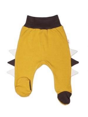 Baby Nellys Bavlnené dojčenské polodupačky, Crocodiles - horčicové, veľ. 80 - 80 (9-12m)