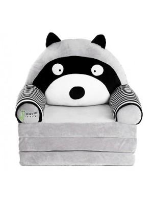 Baby Nellys Veľké rozkladací plyšové kresielko 3v1 sivé - Lemur