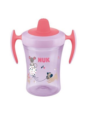 Nekvapkajúci hrnček NUK Trainer Cup Pejsek 230 ml - ružový