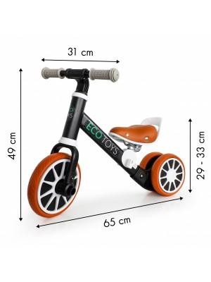 Eco toys Bicykel, odrážadlo s pedálmi - čierne