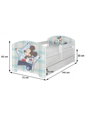 BabyBoo Detská postel Disney - Mickey s kamarátmi - biela, s matracom + šuplík - 140x70