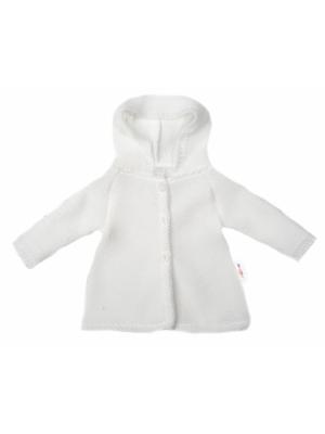 Baby Nellys Dojčenský svetrík s kapucňou, áčkový strih - biely - 56 (1-2m)