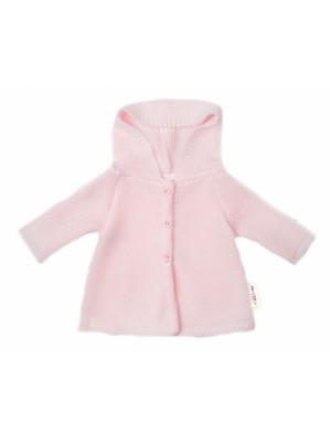 Baby Nellys Dojčenský svetrík s kapucňou, áčkový strih - růžový, veľ. 62 - 62 (2-3m)