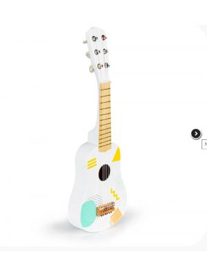 Eco Toys Drevená gitara s geometrickými tvarmi - biela