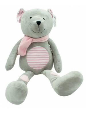 Plyšová hračka túlil Medvedík Erik, 33 cm - růžový s prúžkami