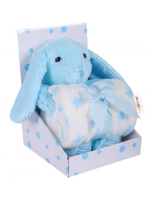 Baby Nellys Detská sada deka + plyšová hračka Králíček - modrá