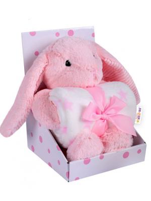 Baby Nellys Detská sada deka + plyšová hračka Králíček - růžová