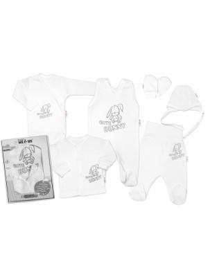 Baby Nellys Veľká sada do pôrodnice CUTE BUNNY, 6-dielna - biela, vel. 62 - 62 (2-3m)
