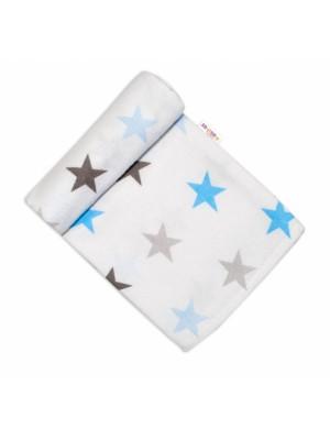 Baby Nellys Flanelová plienka, 70x80 cm - Hviezdy, modrá / šedá