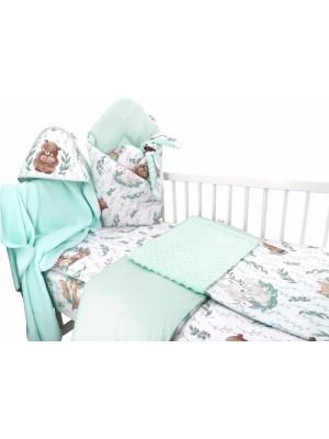 Baby Nellys 6-dielna výhod. súprava pre bábätko s darčekom,120 x 90, LULU natural - mätová - 120x90