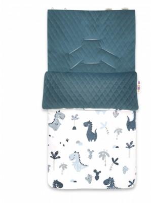 Baby Nellys Bavlnený fusak, prešívaný velvet, 45 x 95 cm - Dino, granát /zelená