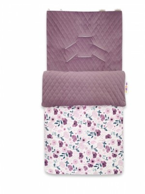 Baby Nellys Bavlnený fusak, prešívaný velvet, 45 x 95 cm - Lúčne kvietky, fialová