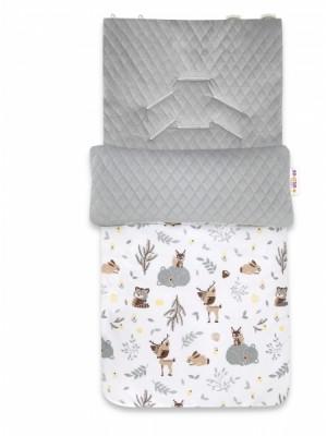 Baby Nellys Bavlnený fusak, prešívaný velvet, 45 x 95 cm - New Forest Friends, šedá