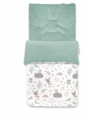 Baby Nellys Bavlnený fusak, prešívaný velvet, 45 x 95 cm - New Forest Friends, mätová