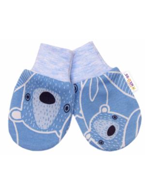 Baby Nellys Dojčenské rukavičky Medvedík - modré - 56 (1-2m)