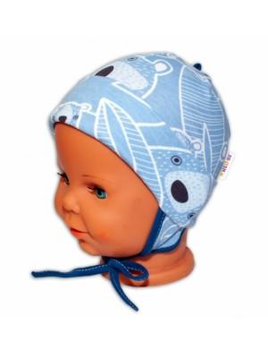 Baby Bavlnená čiapočka s uškami na zaväzovanie - Medvedík, modrá - 50-56 (0-2m)