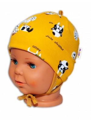 Baby Bavlnená čiapočka s uškami na zaväzovanie - Psík, horčicová - 50-56 (0-2m)