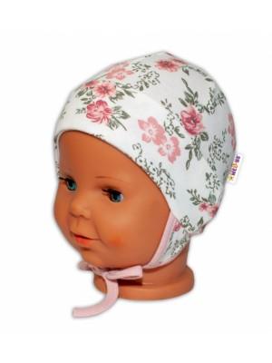 Baby Bavlnená čiapočka s uškami na zaväzovanie - Ružičky, pudrová/ecru - 50-56 (0-2m)