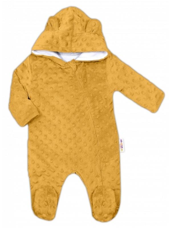 Baby Nellys Kombinézka /overal Minky s kapucňou a uškami - horčica, veľ. 68 - 68 (3-6m)