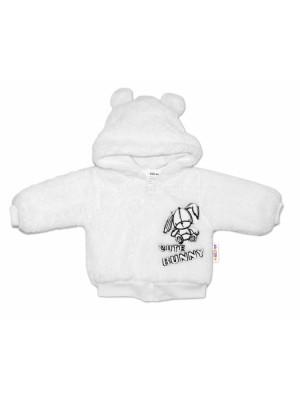 Baby Nellys Dojčenská chlupáčková bundička  s kapucňou Cute Bunny - biela, veľ. 68 - 68 (4-6m)