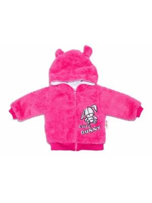 Baby Nellys Dojčenská chlupáčková bundička  s kapucňou Cute Bunny - malinová - 56 (1-2m)