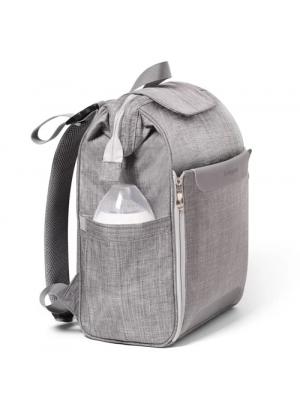 BabyOno Batoh, taška ku kočíku Pom Pom + prebaľovacia podložka zdarma - sivá