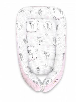 Baby Nellys Bavlnené obojstranné hniezdočko, 55x75cm, Koloušek - ružová