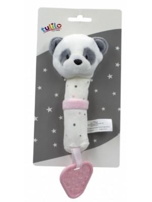 Plyšová hračka Tulilo s pískátkem a hryzátkom Macko Panda, 16 cm - ružový