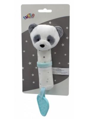 Plyšová hračka Tulilo s pískátkem a hryzátkom Macko Panda, 16 cm - tyrkysový