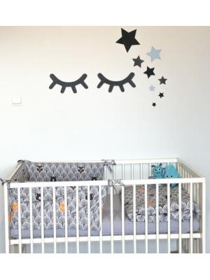 Adam Toys Dekorácie na stenu - Spiace očká s hviezdičkami, modré