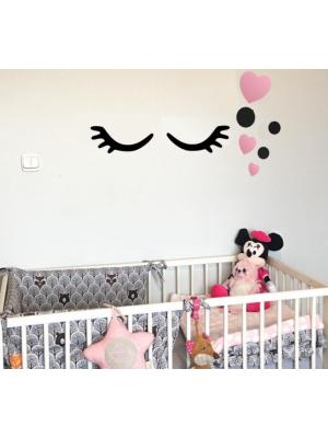 Adam Toys Dekorácie na stenu - Spiace očká zo srdiečkami, ružové