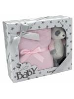 Tulilo Detská sada deka + plyšová hračka Macko Panda - ružová