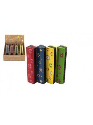 Harmonika drevená 13cm 4 farby v blistru 12ks v boxe