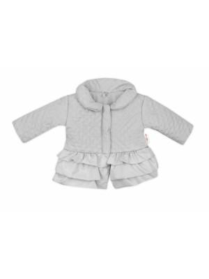 Baby Nellys Detská prechodová bundička s volánikmi, sivá veľ. 98 - 98 (24-36m)