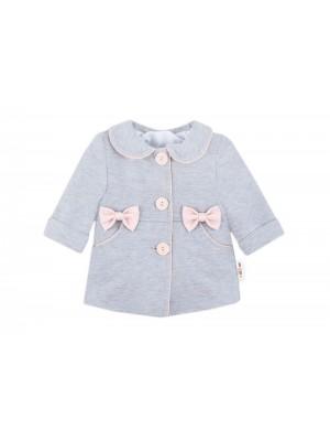 Baby Nellys Detský bavlnený kabátik s mašličkami, sivý, veľ.80 - 80 (9-12m)
