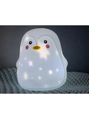 Innogio Prenosná silikónová lampička s projektorom- tučniak