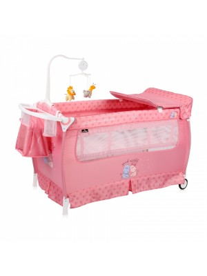 Cestovná postieľka Lorelli SLEEP 'N' DREAM 2 LAYERS PLUS PINK HIPPO