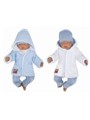 Z & Z Pletený, obojstranný svetrík s kapucňou, modro-biely - 56 (1-2m)