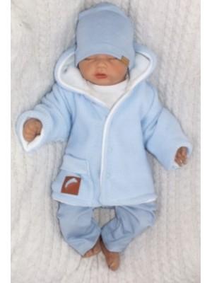 Z & Z Pletený, obojstranný svetrík s kapucňou, modro-biely, veľ. 68 - 68 (4-6m)