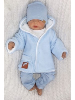 Z & Z Pletený, obojstranný svetrík s kapucňou, modro-biely, veľ. 86 - 86 (12-18m)