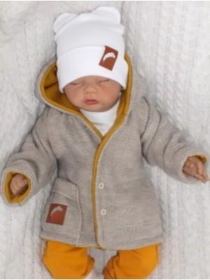 Z & Z Pletený, obojstranný svetrík s kapucňou, horčicovo-bežový, veľ. 80 - 80 (9-12m)