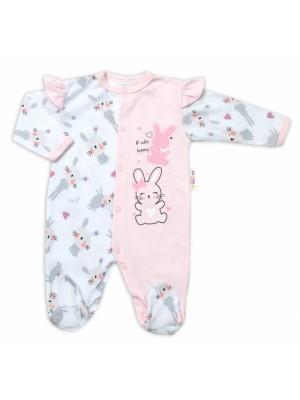 Baby Nellys Bavlnený dojčenský overal s volánkmi Cute Bunny - ružový, veľ. 80 - 80 (9-12m)