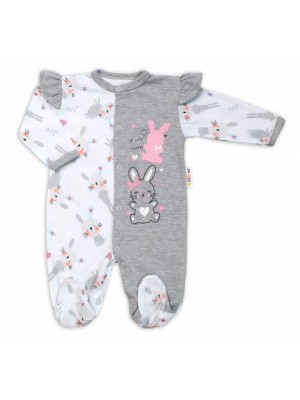 Baby Nellys Bavlnený dojčenský overal  s volánkmi Cute Bunny - sivý, veľ. 74 - 74 (6-9m)