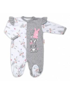 Baby Nellys Bavlnený dojčenský overal s volánkmi Cute Bunny - sivý, veľ. 86 - 86 (12-18m)