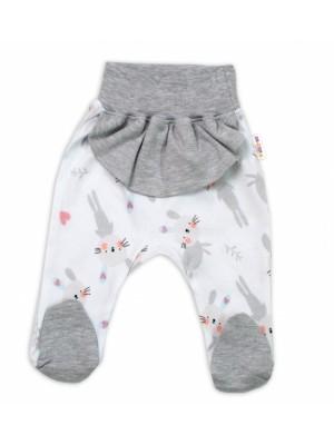Baby Nellys Bavlnené dojčenské polodupačky, Cute Bunny - sivé - 56 (1-2m)