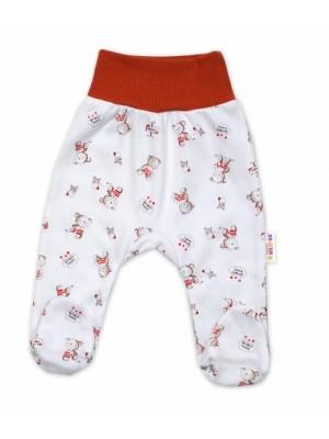Baby Nellys Bavlnené dojčenské polodupačky, Teddy - biele, ve. 74 - 74 (6-9m)