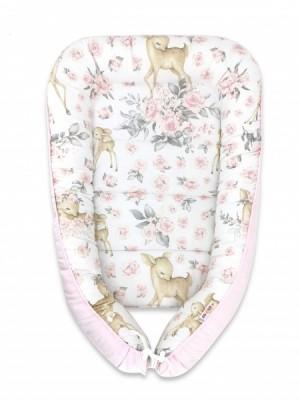 Baby Nellys Bavlnené obojstranné hniezdočko, 55x75cm, Srnka a ruže - růžová