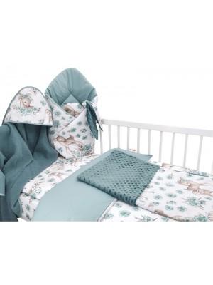 Baby Nellys 6-dielna výhod. súprava pre bábätko s darčekom, 135x100, Srnka a ruže, mätová - 135x100