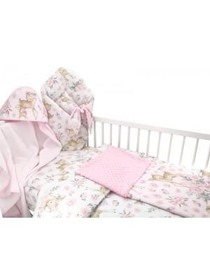Baby Nellys 6-dielna výhod. súprava pre bábätko s darčekom,120 x 90, Srnka a ruže, růžová - 120x90